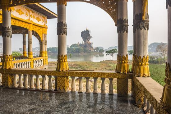 Kyauk Kalap Buddhist Temple in the Middle of a Lake at Sunrise, Hpa An, Kayin State (Karen State)-Matthew Williams-Ellis-Photographic Print
