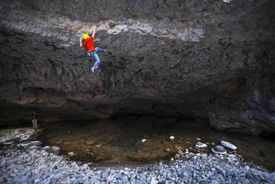 Kyle Vassilopoulos Climbs Out Over A Portion Of The Main Boulder River On Reflective Technique-Ben Herndon-Photographic Print