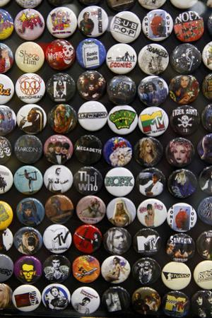 Buttons at Amoeba Music Store, Hollywood, Los Angeles, California, USA