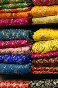 Colorful Sari Shop in Old Delhi Market, Delhi, India by Kymri Wilt