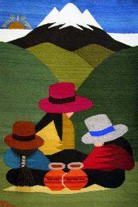 Ecuador, Otavalo. Woven wallhangings displaying scenes of Andean life and culture by Kymri Wilt