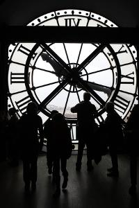 Europe, France, Paris. Clock and silhouettes at Musee D'Orsay. by Kymri Wilt