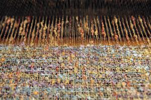 Ireland, Avoca. Avoca Handweavers Mill, County Wicklow. Woollen Threads on Loom. by Kymri Wilt