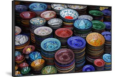 Morocco, Marrakech. Moroccan Hand-Painted Glazed Ceramic Dishes