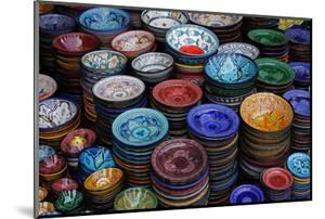 Morocco, Marrakech. Moroccan Hand-Painted Glazed Ceramic Dishes by Kymri Wilt
