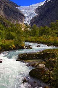 Norway. Briksdal Glacier and River by Kymri Wilt