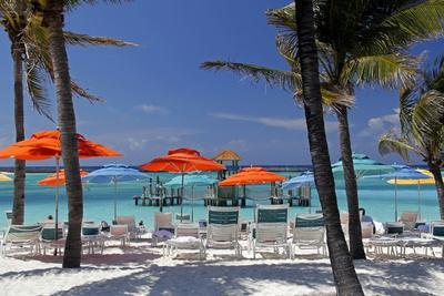 Umbrellas and Shade at Castaway Cay, Bahamas, Caribbean