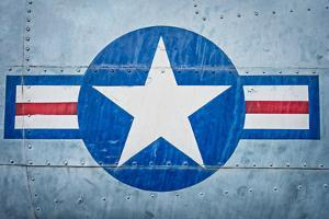 Military Plane with Star and Stripe Sign. by kyolshin