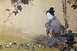 Beauty Watching Frogs at Play by Kyosai Kawanabe