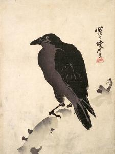 Crow Resting on Wood Trunk by Kyosai Kawanabe