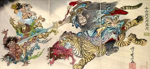 Shoki Riding on a Tiger Chasing Demons Away, Titled Satsuki by Kyosai Kawanabe