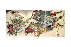Shoki Riding on a Tiger Chasing Demons Away, Titled Satsuki-Kyosai Kawanabe-Giclee Print