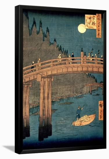 """Kyoto Bridge by Moonlight, from the Series """"100 Views of Famous Place in Edo,"""" Pub. 1855-Ando Hiroshige-Framed Premier Image Canvas"""