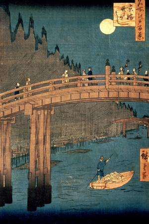 """Kyoto Bridge by Moonlight, from the Series """"100 Views of Famous Place in Edo,"""" Pub. 1855-Ando Hiroshige-Giclee Print"""