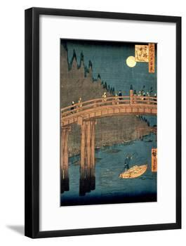 """Kyoto Bridge by Moonlight, from the Series """"100 Views of Famous Place in Edo,"""" Pub. 1855-Ando Hiroshige-Framed Giclee Print"""