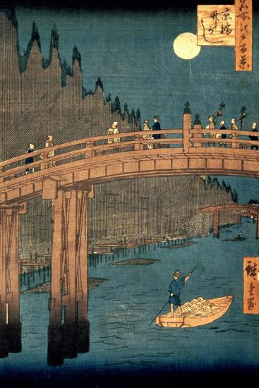 """Kyoto Bridge by Moonlight, from the Series """"100 Views of Famous Place in Edo,"""" Pub. 1855-Ando Hiroshige-Premium Giclee Print"""