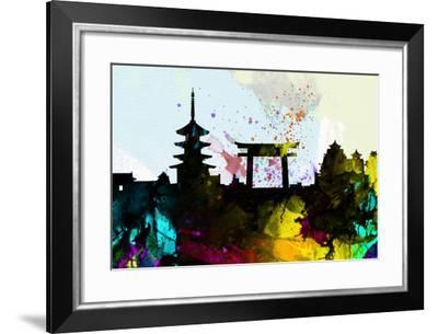 Kyoto City Skyline-NaxArt-Framed Art Print