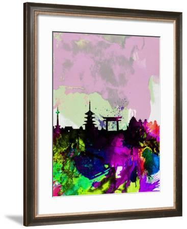 Kyoto Watercolor Skyline-NaxArt-Framed Art Print