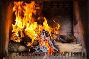 Fireplace or Furnace Invites You with its Cozy Blazing Fire to Warm Up by Kzenon