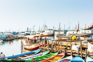 Sunda Kelapa Old Harbour with Fishing Boats, Ship and Docks in Jakarta, Indonesia by Kzenon