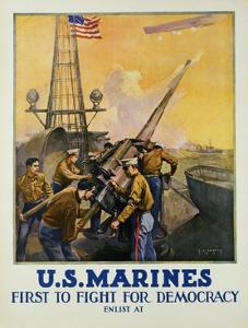 U.S. Marines - First to Fight for Democracy Recruiting Poster by L.a. Shafer
