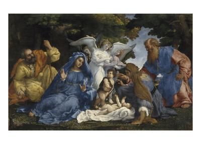 L'Adoration de l'Enfant Jésus-Lorenzo Lotto-Giclee Print