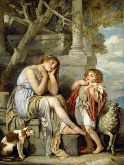 L'Agneau Cheri-Jean Baptiste Greuze-Giclee Print
