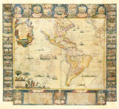 L'Amerique Dedice et Presente a sa Majeste tres Chrestienne Louis XVI, 1740-Jean Baptiste Nolin-Premium Giclee Print