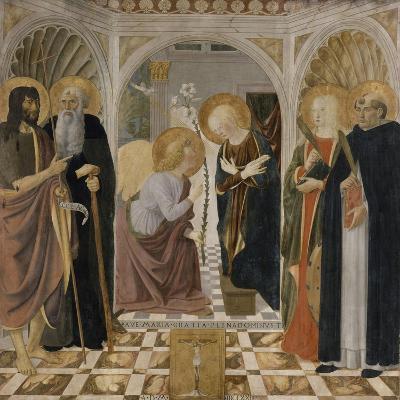 L'Annonciation et quatre saints. Avec saint Jean-Baptiste, saint Antoine, sainte Catherine et-Cosimo Rosselli-Giclee Print
