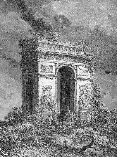 L'Arc De Triomphe as a Ruin, 19th Century-?douard Riou-Giclee Print