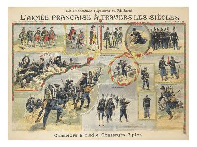 L'armée française à travers les siècles, chasseurs à pied et chasseurs alpins--Giclee Print