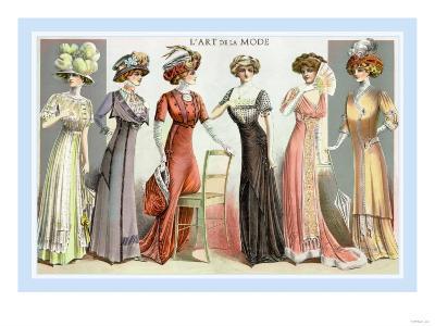 L'Art de la Mode: Six Refined Fashions--Art Print