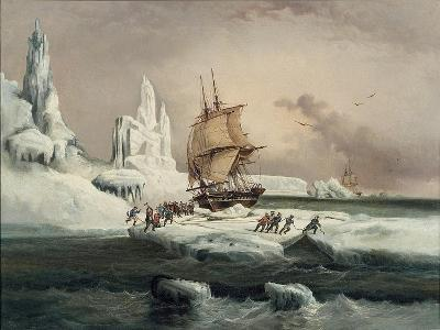 L'Astrolabe Caught in an Ice Pack, 9 February, 1838-Auguste Etienne Francois Mayer-Giclee Print