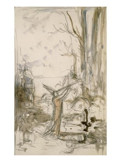 """L'Astrologue qui se laisse tomber dans un puits. Esquisse pour les """"Fables de La Fontaine""""-Gustave Moreau-Giclee Print"""