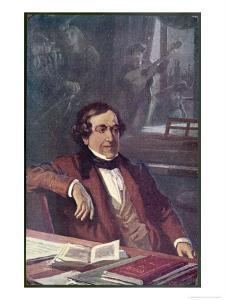 """Gioacchino Rossini Composing His Opera """"Il Barbieri Di Seviglia"""" First Performed by L. Balestrieri"""