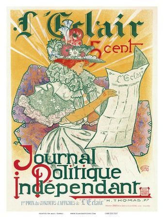 L'Éclair, Journal Politique Indépendant, Art Nouveau, La Belle Époque-H^ Thomas-Art Print