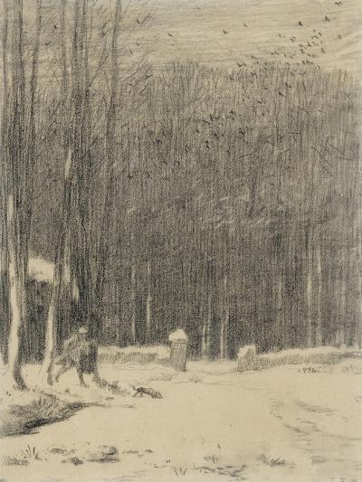 L'entr�de la for�de Barbizon; effet de neige-Jean-Fran?ois Millet-Giclee Print