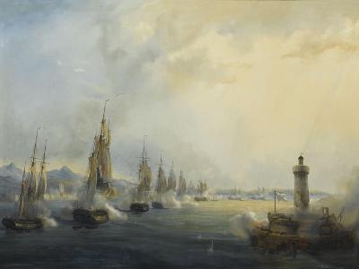 L'escadre française commandée par l'amiral Roussin force l'entrée du Tage devant Lisbonne, 11-Pierre Julien Gilbert-Giclee Print