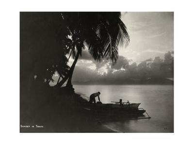 Sunset in Tahiti, with Silhouetted Palm Trees and Beach in Foreground by L. Gauthier