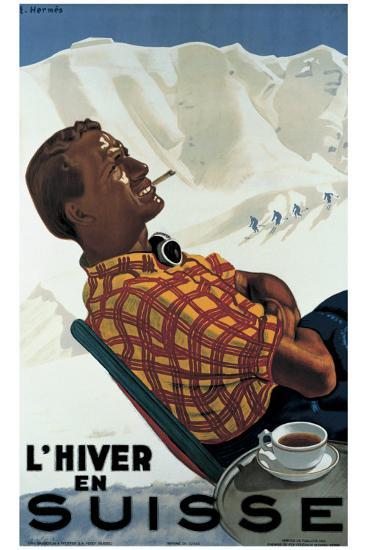 L'Hiver en Suisse-Erich Hermes-Giclee Print