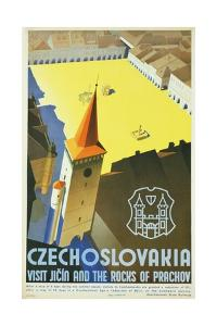 Czechoslovakia - Visit Jicin and the Rocks of Prachov Travel Poster by L. Horak