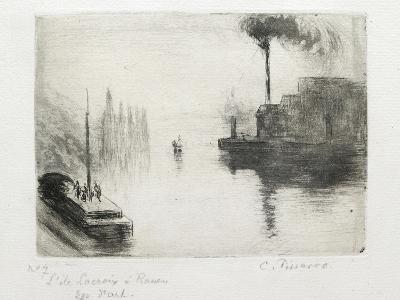 L'Ile Lacroix, À Rouen, 1883 (Drypoint, Etching, Metal Brush and Open Bite)-Camille Pissarro-Giclee Print