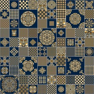 Abstract Seamless Patchwork Background from Metallic Golden Beige and Dark Indigo Blue Ornaments, G