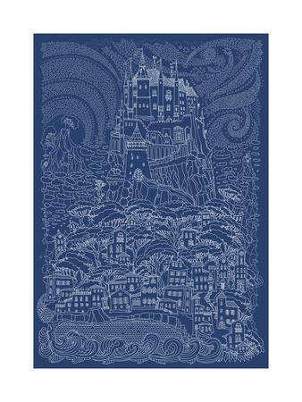 Fantasy Landscape. Fairy Tale Castle on a Hill. Fantastic Mountain, Clouds, Pine Trees, Sea Wave. F