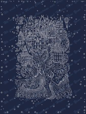 Fantasy Winter Landscape. Fairy Tale Tree with Castle, Old Medieval Town, House. Hand Drawn Christm