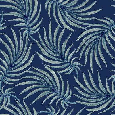 Seamless Abstract Floral Pattern from Watercolor Painted Palm Leaf Silhouette on a Dark Indigo Blue
