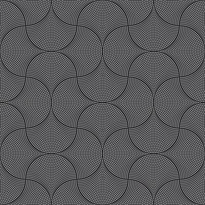 Vector Abstract Seamless Wavy Pattern with Geometrical Order. Silver Triangular Twinkles on a Black