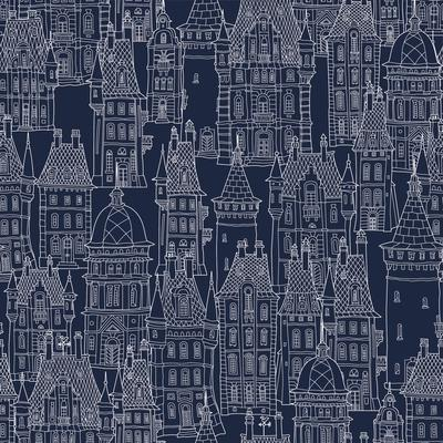 Vector Seamless Pattern of Fantasy Landscape. Fairy Tale Castle, Old Medieval Town. Hand Drawn Sket