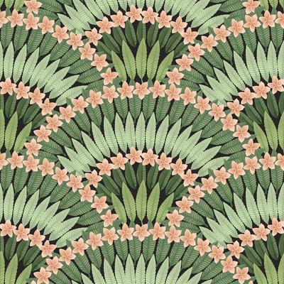 Vector Seamless Pattern of Hand Drawn Tropical Pink Flowers and Green Leaves on a Black Background