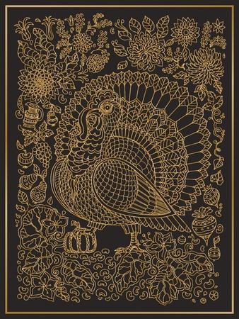 Zen Tangle Ornate Bird, Fantastic Pumpkin Flower. Golden Contour Thin Line Ornaments on a Black Bac